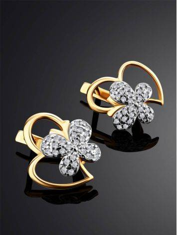 Cute Heart Shaped Golden Earrings With Crystal Butterflies, image , picture 2
