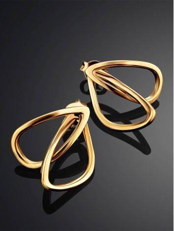 Classy Golden Earrings In Interwoven Design, image , picture 2