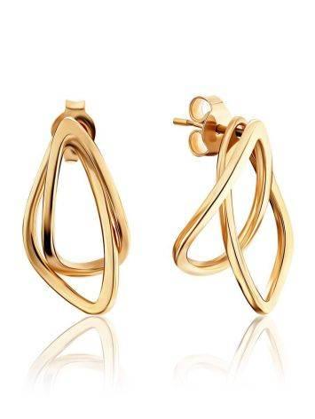 Classy Golden Earrings In Interwoven Design, image