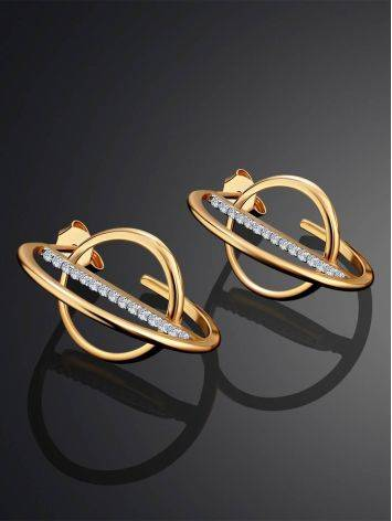 Trendy Geometric Golden Earrings With Crystals, image , picture 2