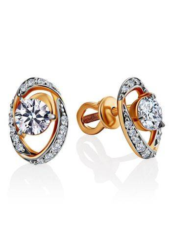 Bright Gold Crystal Stud Earrings, image
