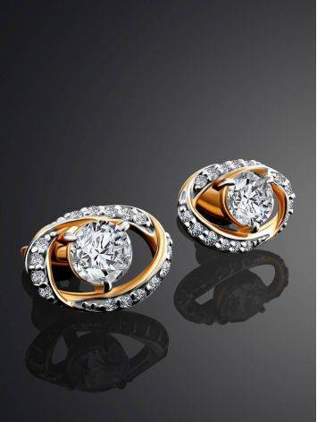 Bright Gold Crystal Stud Earrings, image , picture 2