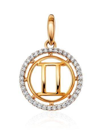 Round Golden Gemini Sign Pendant With Crystals, image