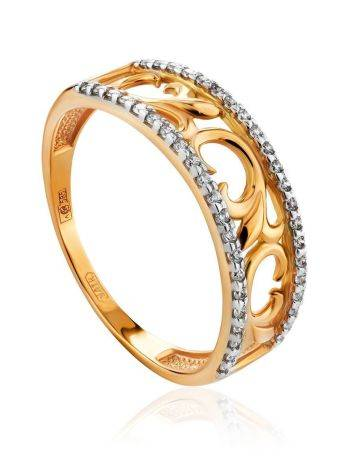 Laced Golden Band Ring With Crystals, Ring Size: 8 / 18, image