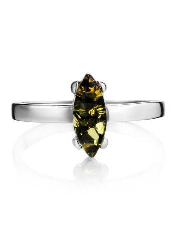 Minimalist Design Silver Amber Ring, Ring Size: 5 / 15.5, image , picture 3