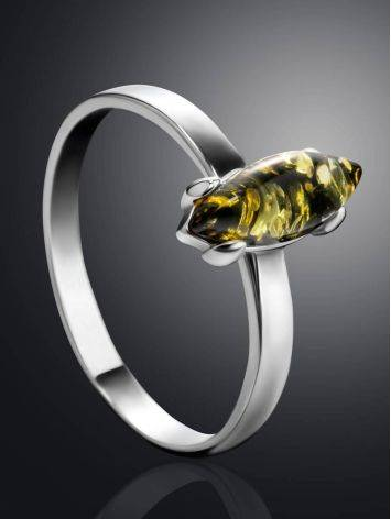 Minimalist Design Silver Amber Ring, Ring Size: 5 / 15.5, image , picture 2