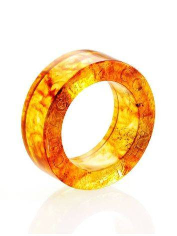 Engraved Amber Band Ring The Magma, Ring Size: 5.5 / 16, image , picture 4