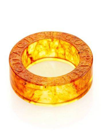 Engraved Amber Band Ring The Magma, Ring Size: 5.5 / 16, image , picture 5