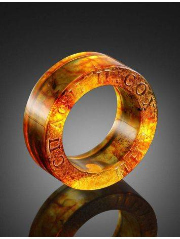 Engraved Amber Band Ring The Magma, Ring Size: 5.5 / 16, image , picture 2