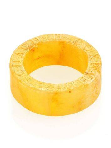 Engraved Amber Band Ring The Magma, Ring Size: 6.5 / 17, image , picture 3