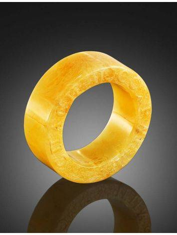 Engraved Amber Band Ring The Magma, Ring Size: 6.5 / 17, image , picture 2