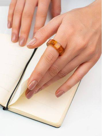 Engraved Amber Band Ring The Magma, Ring Size: 5.5 / 16, image , picture 3