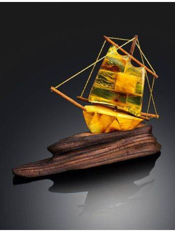 Handcrafted Amber Decorative Ship Model, image , picture 2