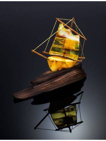 Handcrafted Amber Decorative Ship Model, image , picture 3