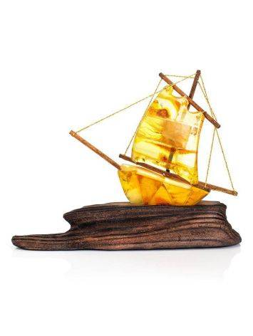Handcrafted Amber Decorative Ship Model, image , picture 4