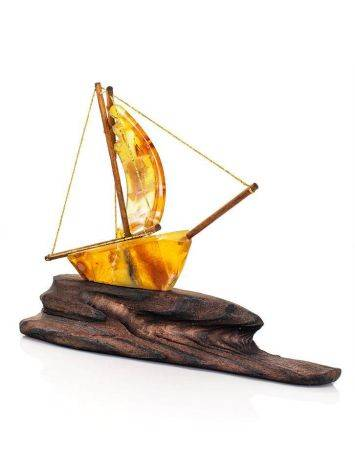 Handcrafted Amber Decorative Ship Model, image , picture 5