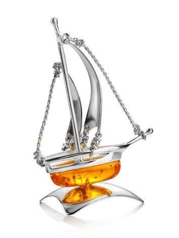Amazing Silver Amber Decorative Ship Model, image , picture 3