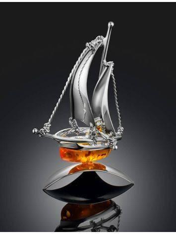 Amazing Silver Amber Decorative Ship Model, image , picture 2