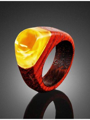 Handcrafted Padauk Wood Ring With Honey Amber The Indonesia, Ring Size: 7 / 17.5, image , picture 2