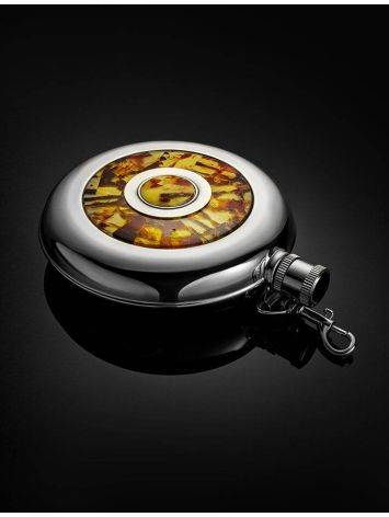 Stainless Steel Souvenir Flask With Amber Mosaic, image , picture 2