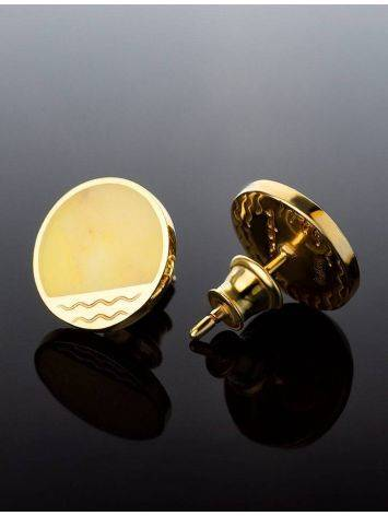 Round Gold Plated Studs With Honey Amber The Monaco, image , picture 2