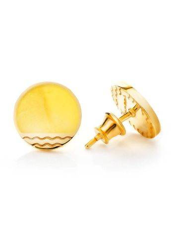 Round Gold Plated Studs With Honey Amber The Monaco, image , picture 3