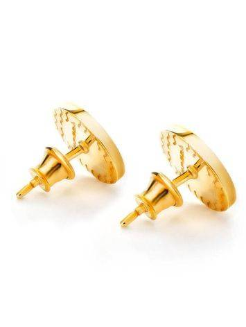 Round Gold Plated Studs With Honey Amber The Monaco, image , picture 4