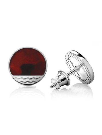 Flat Round Silver Studs With Amber The Monaco, image , picture 4