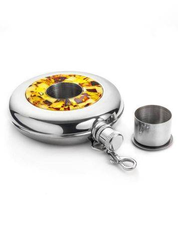 Stainless Steel Souvenir Flask With Amber Mosaic, image , picture 3