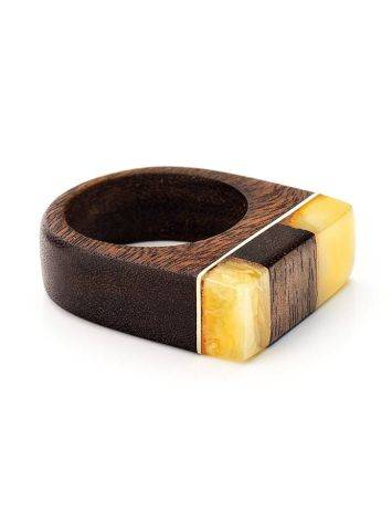 Handcrafted Brazilwood Ring With Honey Amber The Indonesia, Ring Size: 7 / 17.5, image , picture 3