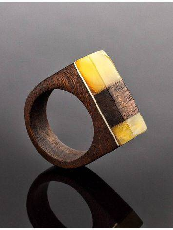 Handcrafted Brazilwood Ring With Honey Amber The Indonesia, Ring Size: 7 / 17.5, image , picture 2