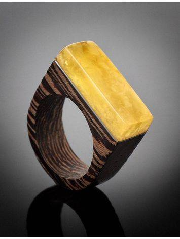 Handmade Wenge Wood Ring With Honey Amber The Indonesia, Ring Size: 8 / 18, image , picture 2