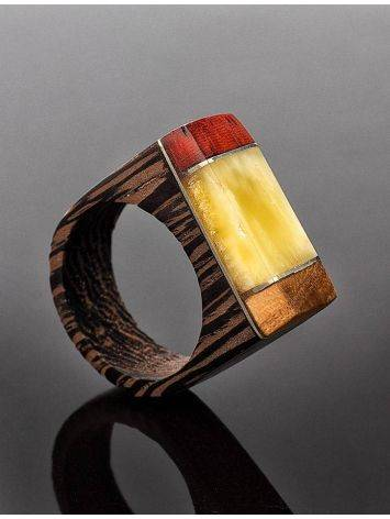 Handcrafted Wenge Wood Ring With Honey Amber The Indonesia, Ring Size: 7 / 17.5, image , picture 2