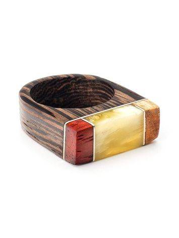 Handcrafted Wenge Wood Ring With Honey Amber The Indonesia, Ring Size: 7 / 17.5, image , picture 3