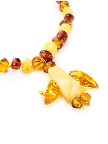 Multicolor Amber Beaded Necklace With Angel Shaped Pendant, image , picture 4