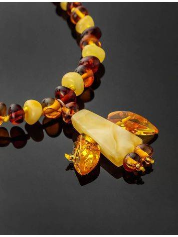 Multicolor Amber Beaded Necklace With Angel Shaped Pendant, image , picture 2