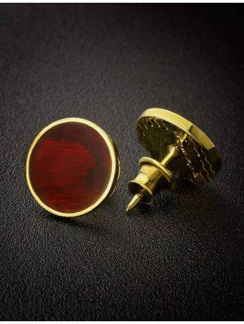 Round Gold Plated Silver Amber Studs The Monaco, image , picture 2