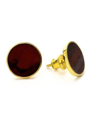 Round Gold Plated Silver Amber Studs The Monaco, image , picture 3