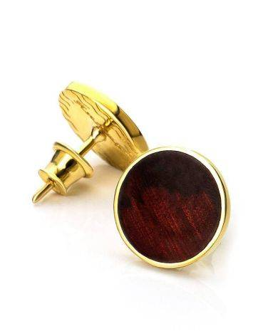 Round Gold Plated Silver Amber Studs The Monaco, image , picture 4