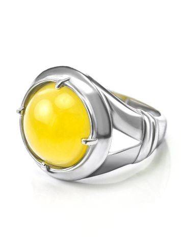 Bright Honey Amber Men's Ring In Sterling Silver The Cesar, Ring Size: 8 / 18, image , picture 4