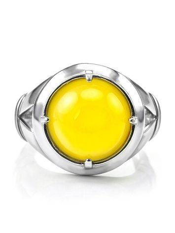 Bright Honey Amber Men's Ring In Sterling Silver The Cesar, Ring Size: 8 / 18, image , picture 3