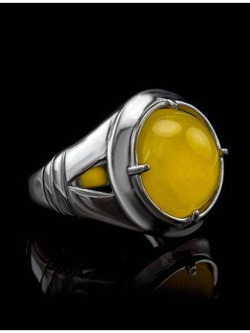 Bright Honey Amber Men's Ring In Sterling Silver The Cesar, Ring Size: 8 / 18, image , picture 5
