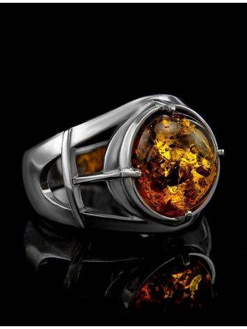 Stunning Silver Men's Ring With Cognac Amber The Cesar, Ring Size: 8 / 18, image , picture 4