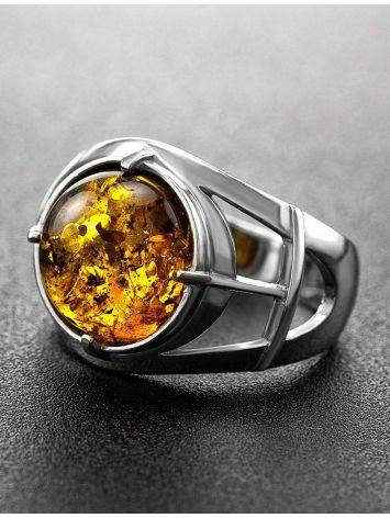 Stunning Silver Men's Ring With Cognac Amber The Cesar, Ring Size: 8 / 18, image , picture 2