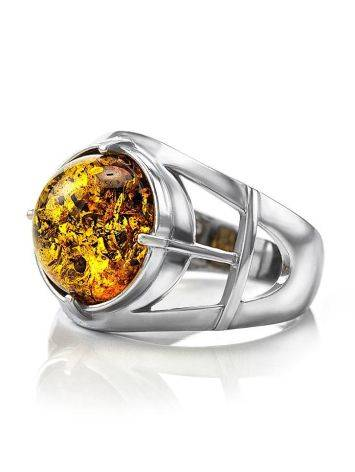 Stunning Silver Men's Ring With Cognac Amber The Cesar, Ring Size: 8 / 18, image , picture 5
