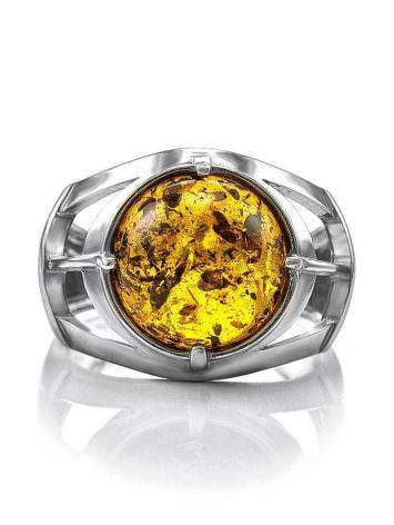 Stunning Silver Men's Ring With Cognac Amber The Cesar, Ring Size: 8 / 18, image , picture 3