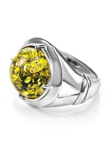 Bold Green Amber Men's Ring In Sterling Silver The Cesar, Ring Size: 8 / 18, image , picture 4