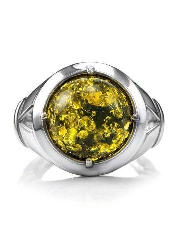 Bold Green Amber Men's Ring In Sterling Silver The Cesar, Ring Size: 8 / 18, image , picture 3