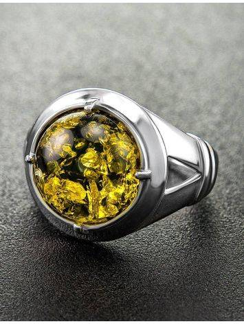 Bold Green Amber Men's Ring In Sterling Silver The Cesar, Ring Size: 8 / 18, image , picture 2