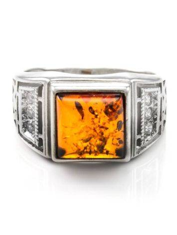 Classic Men's Signet Ring With Cognac Amber In Sterling Silver The Cesar, Ring Size: 13 / 22, image , picture 3